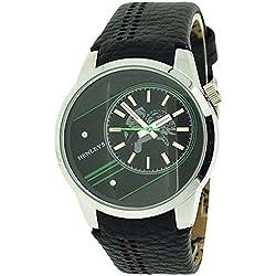 Henly analoge Herrenuhr, schwarz & grünes Zifferb., Krokoimitat Uhrband.