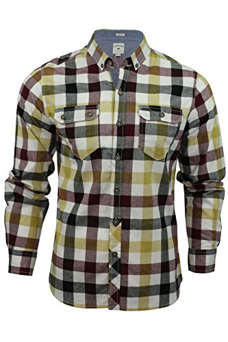 8c4e1ddbc2fa4 Lee Cooper Hadleigh - Camisa de manga larga para hombre, diseño de cuadros  beige crudo Large
