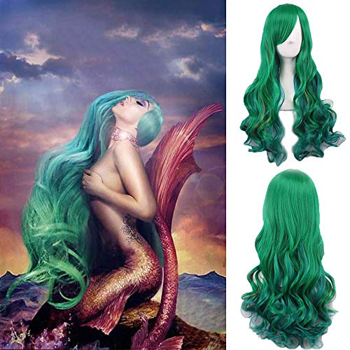 yuyi die Meerjungfrau Cosoplay Perücke grün lange Körperwelle Mode Frisur Promi Lady Gaga Wear s Haar hitzebeständige tägliche Perücke Halloween