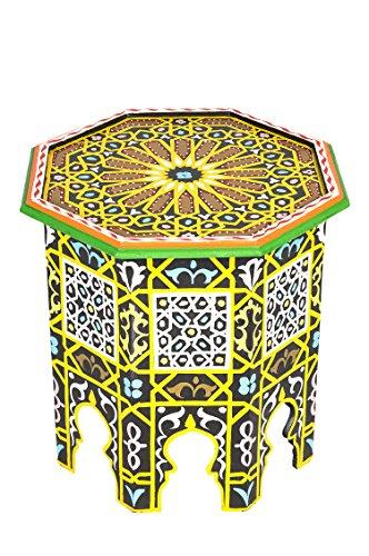 Marokkanischer Tisch Beistelltisch aus Holz Bunt ø 50cm rund | Orientalischer Runder Hocker Blumenhocker klein für Ihre Wohnzimmer oder Küche | Orientalische