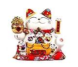 Maneki Neko Winkekatze Glückskatze Glücksbringer Winkende Katze aus Porzellan,Weiß L34*W23*H29cm, 2