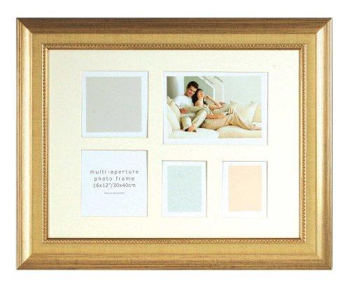 SET 2 Stück-Fotorahmen Collage 5 Fotos Durham-(8239-2) Gold Decor-Gesamtgröße 30x40x1,4 cm-Stilrahmen Portraitrahmen Bilder-Rahmen (Nielsen-box)