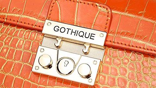 lpkone-Sacs à main vente sac motif crocodile lock petite place avec le sac Messenger Bag Orange