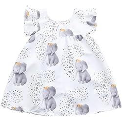 DAY8 Vêtements Bébé Fille Naissance Été Robe Bébé Fille Cérémonie Princesse Mariage Baptême Fête Plage 1-3 Ans Chic Soirée Mode Costume de Jupe Robe de Fille Imprimé Éléphant (80(6-12 Mois), Blanc)