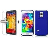 TBOC® Pack: Funda de Gel TPU Azul + Protector Pantalla Vidrio Templado para Samsung Galaxy S5 Mini. Funda de Silicona Ultrafina y Flexible. Protector de pantalla Resistente a Golpes, Caídas y Arañazos.