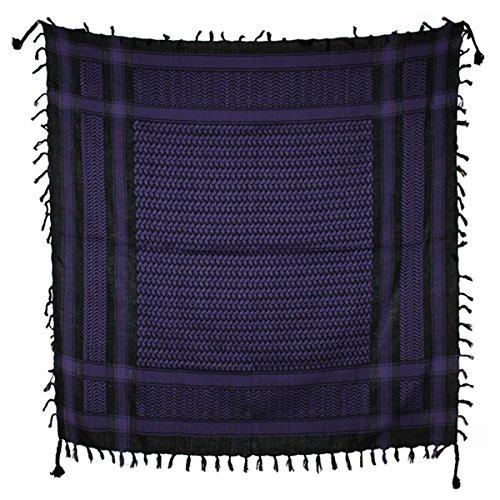 Freak Scene® Foulard palestinien/keffieh en coton - couleur de base noire - 100 x 100 cm - Large palette de couleurs! noir motif violet