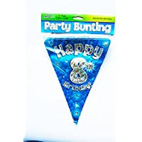 Happy 8th Birthday Flag Bunting Age Boys Blue Pennant Banner Party Decorations