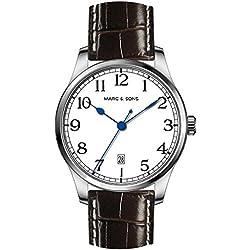 Marc & Sons Navy Men's Automatic Watch White Date Miyota 9015, Sapphire Glass-ref. MSM 007