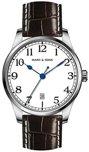 MARC & SONS Marine Automatik Herrenuhr weiß Datum, Miyota 9015 - Referenz MSM-007