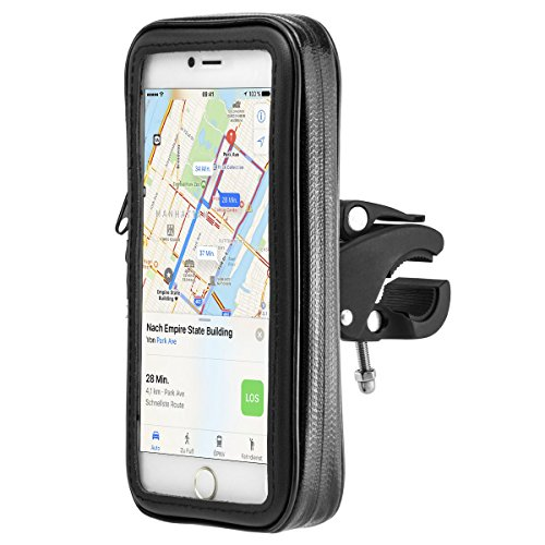 Wasserdichte Fahrrad- und Motorrad-Halterung Universal mit Wasserdichter Tasche für Handy Smartphone 5,2 Zoll - 5,7 Zoll wie z.B. iPhone 6, 6S, 7, 7 Plus / Galaxy S5, S6, S7, S7 Edge, Note 4, Note 5, Note Edge / Huawei P8, P9, Lite, Plus / Sony Xperia Z3, Z5, Premium, XZ, X / HTM M8, M9, M10 / LG G4, G5 und andere Handys/Smartphones