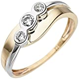 JOBO Damen Ring 333 Gold Gelbgold Weißgold bicolor 3 Zirkonia Goldring Größe 58