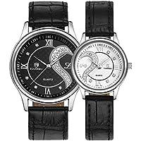 lui e orologi, cinturino in pelle Ihee romantico coppia analogico al quarzo orologi da polso per coppia unisex (set da 2) - 50 ° Anniversario Set