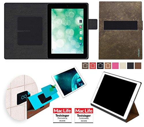 reboon Hülle für Blaupunkt Endeavour 1010 Tasche Cover Case Bumper | in Braun Wildleder | Testsieger