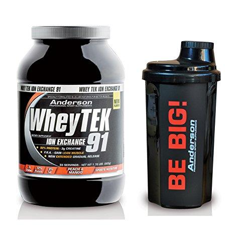Integratore Anderson di proteine Whey Tek 91- 800g (gusto Vaniglia) + Omaggio shaker Anderson - Proteine del siero con Vitamine e Creatina