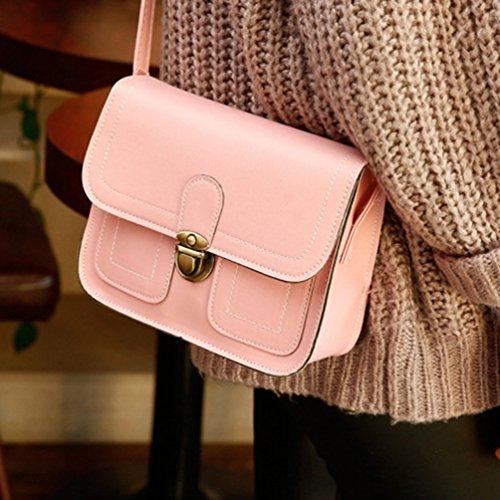 Vbiger Mini Borse Messenger Pelle Sintetica Borsa Crossbody Elegante borsa a tracolla per donne(Marrone chiaro) Rosa