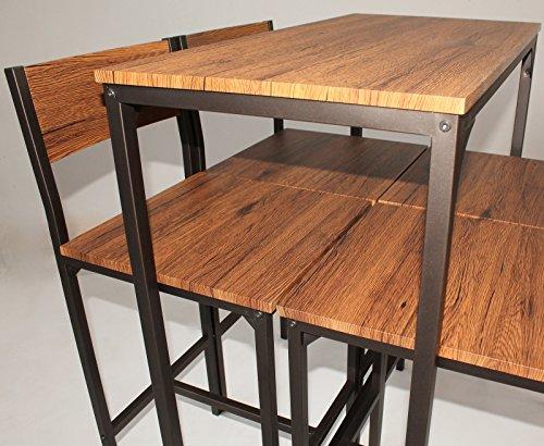Yelloo set tavolo bar h cm e sgabelli design marrone noce