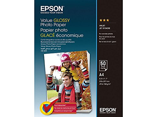 Epson Value Glossy Photo Paper A4 (210×297 mm) Brillo Multicolor - Papel fotográfico (Brillo, 183 g/m², Multicolor, Inyección de tinta, A4 (210×297 mm), 50 hojas)