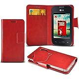 (Red) LG L35 Caso fino estupendo Faux Leather succión Pad Monedero piel de la cubierta con el crédito / débito ranuras para tarjetasBy ONX3