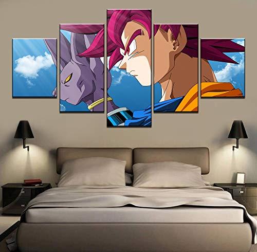 alicefen Arte de la Pared Pintura de la Lona 5 Unidades Beerus Super Saiyan Dios Goku Dragon Ball Z Batalla de Dioses Cuadro de la Lona Decoración de la Habitación Marco-Frame
