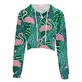 YueLian Damen Kurze Kapuzenpullover Ärmeln Sweatshirt Crop Top Druck Hoodies Pullover(China XL:Büste 111.5 cm,Flamingo 2)