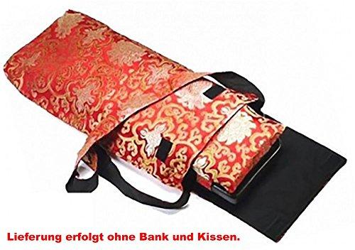 Meditationsbänke und Zubehör Variantenartikel (Tragetasche für Bank und Kissen Brokat Rot/Gold Lotus)