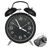 Retro Glockenwecker,Trrebtle Doppelglocken-Wecker mit Nachlicht, geräuschloser Betrieb, Quarzuhrwerk, analog, Retro-Design, lauter Alarm 4 Zoll