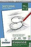 Canson Esquisse Album Papier à Dessin spiralé petit côté 50 Feuilles 100g 29,7 x 42 cm Blanc