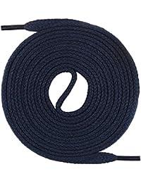 Un par de cordones Monte Swiss © Premium, 100% algodón, resistentes a roturas, 7 mm de ancho, entre 45 y 200cm de longitud, Unisex, azul oscuro, 180 cm