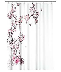 D perlant rideau de douche en tissu motif branches de - Rideau motif japonais ...