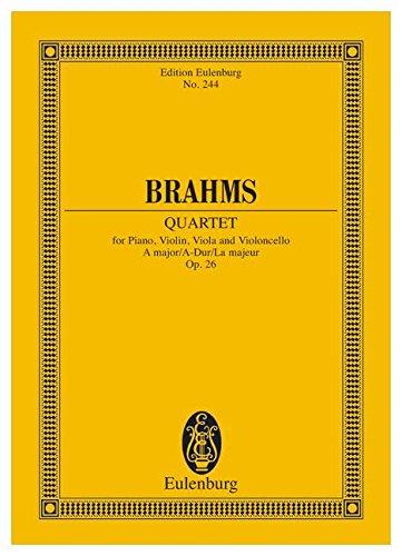Klavierquartett A-Dur: op. 26. Klavier, Violine, Viola und Violoncello. Studienpartitur. (Eulenburg Studienpartituren)