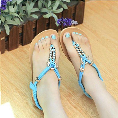 Fulltime® Bohemian perles Sandales clip Toe Sandales Chaussures de plage de Chevrons des femmes Bleu