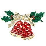 Flyonce österreichischen Kristall Jingle Bell Bowknot grünes Blatt wünschen Baum Brosche Rot Gold-Ton
