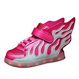 Kinderschuhe Jungen Light Sportschuhe - hibote Bunte LED leuchtet Sneakers USB Aufladen athletische Schuhe mit Fluegel