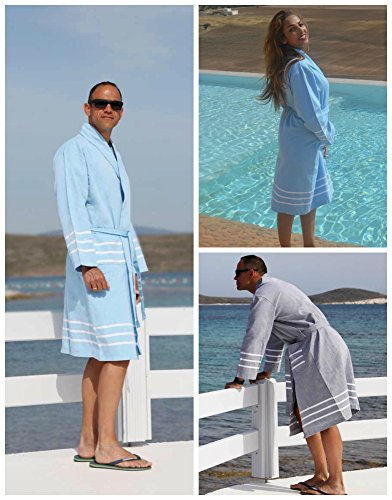 Lieve, elegante ACCAPPATOIO o Sauna cappotto   per uomo e donna   bello, sottile e leggero   alta qualità, 100% cotone,, Cotone, turchese, L / XL