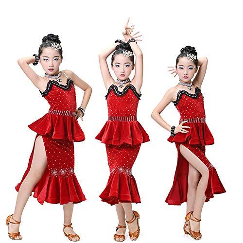 JIE. Kinder-Lateintanz-Kostüme-Girls Latin Dance Kostüm-Wettbewerb Sequins Fringe ()