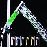 pepeng beleuchtete 7-Farben-LED-Handbrause, automatischer Farbwechsel, Duschkopf mit Licht, keine Batterie erforderlich Round Stick Design