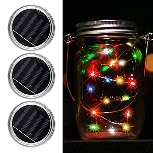greendream 3 Stück Solar Mason Jar Deckel einfügen(Mason Jar nicht inbegriffen), 10 LED Solar Fairy warmweißes Licht für Glas Mason Jars and Garden Decor Solarleuchten (Solar Led Fairy Lichter)