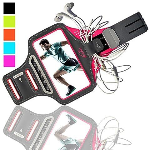 K-ZAR Brassard iPhone 7/8 Plus Brassard Sport Universel 4.7''-5.5'' Anti-Sueur Confortable Léger Ajustable Brassard Téléphone idéal pour Jogging Running Fitness Armband avec Portes Clés/Papiers/Argent et Attache Câble (Rose)