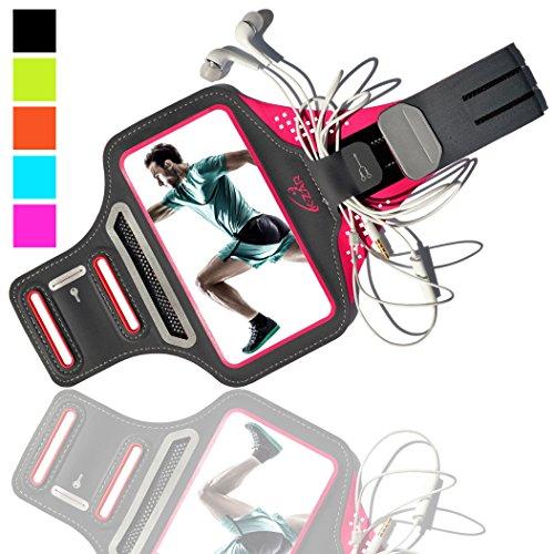 K-ZAR Universel Brassard de Sport Anti-Sueur pour iPhone 8/7 Plus 6/6s/5/5C/5S Samsung Galaxy S7/S6/S5 Jusqu'à 5.5 Pouces, Armband Ajustable Anti-Sueur avec Portes Clés et Cartes Attache-Câble (Rose)