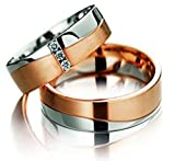 Eheringe Partnerringe Trauringe Verlobungsringe Freundschaftsringe aus Titan/Silber Rose Gold plattiert/Laser Gravur GRATIS