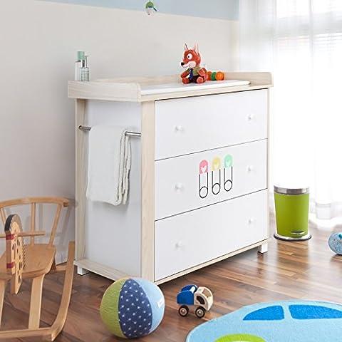 Infantastic - Cómoda cambiador para bebés con 3 grandes cajones - Blanco con motivos en rosa, amarillo y verde - aprox. 77/88/95