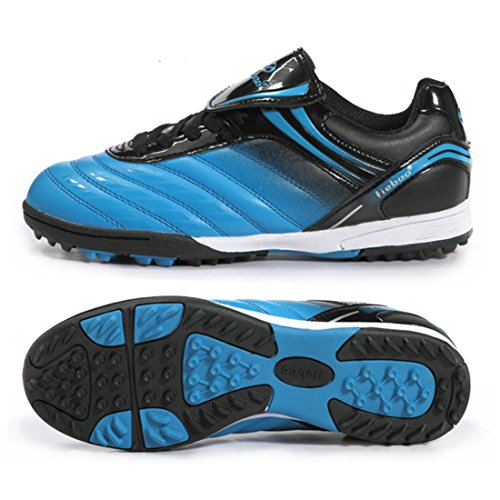 Men's Turf Soles Soccer Cleats Athletic Football Shoes Blue Black