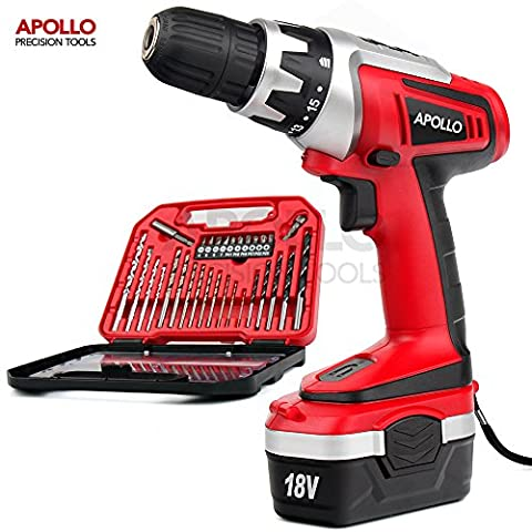 Apollo 18 V Pro Combo Cordless Drill Driver with 1000 mAh NiCad Battery, 17 Position Keyless Clutch, Variable Speed Switch & 30 Piece Drill and Screwdriver Bit Accessory Set in Compact Storage
