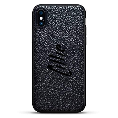 Schutzhülle für iPhone XS/X (5,8 Zoll / 14,8 cm), Lillie/handgeschriebener Stil, Leder-Rückseite, 3D-Druck-Design, Schwarz