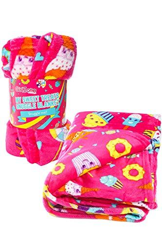 Regalos para Niñas - Manta de Polar Rosa para Niñas de GirlZone - Plaid Cobertor Kawaii de Microfibra Suave y Cálido 116 x 170 cm - Producto de Calidad