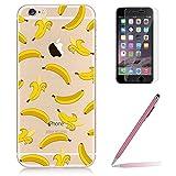 """Custodia iPhone 6/6s [Pellicola Protettiva in Vetro Temperato], Yoowei® Design Colorato Cristallo Trasparente Ultra Sottile Morbido TPU Gel Case Cover per iPhone 6/6s 4.7"""" (Banana)"""
