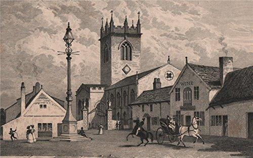 st-elphins-church-warrington-rebuilt-1859-ring-obells-pub-harwood-1829-old-antique-vintage-print-art