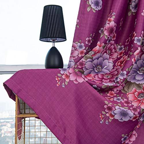 ToDIDAF Blühende Blume Gardinen Vorhang, Lichtdicht Vorhang Tüll Fenster Behandlung Voile Drapieren Volant, 1 Paneelstoff für Zuhause Wohnzimmer Schlafzimmer Dekoration, 100 x 250 cm (Rot)
