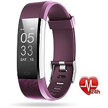 Pulsera deportiva inteligente, Lintelek Gps para running, Modo de multi-deporte, Monitor de ritmo cardíaco, sueño, Notificación de SMS, Impermeable IP67 para IOS y Android, Púrpura