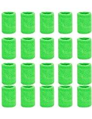 ZOEON 20 Stück Schweißbänder, Baumwolle Absorbierende Handgelenksband für Tennis Squash Fußball Basketball, Mehrere Farben Erhältlich